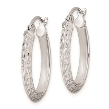 Sterling Silver Rhodium Plated Diamond Cut Oval Hoop Earrings