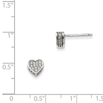 Sterling Silver CZ Brilliant Embers Heart Post Earrings