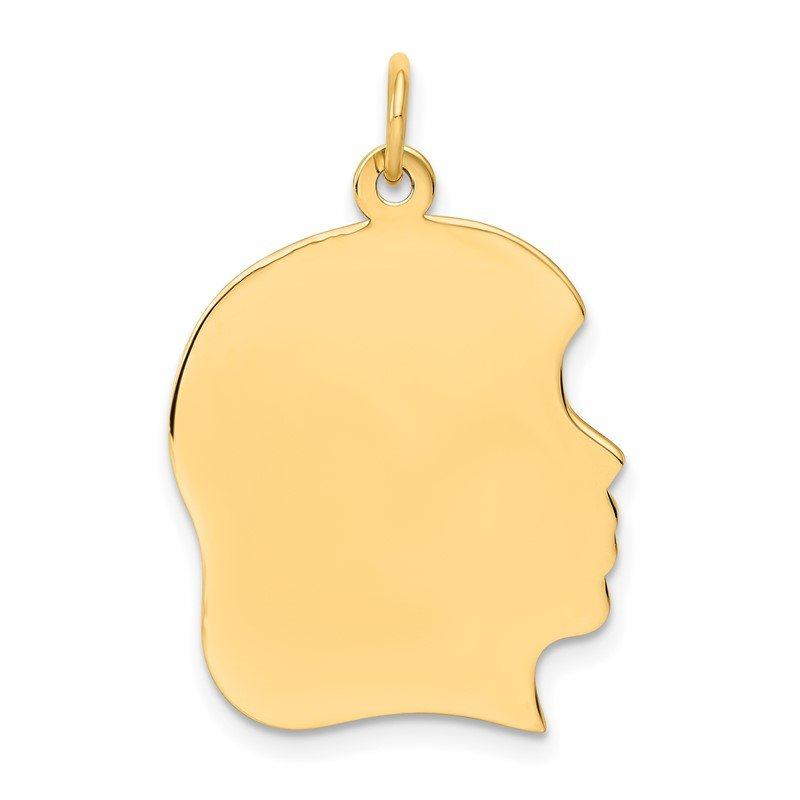 Quality Gold 14k Plain Large .009 Gauge Facing Right Engravable Girl Head Charm
