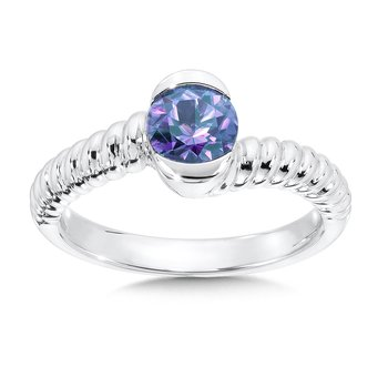 Sterling Silver Created Alexandrite Colore Of Life Stack Ring