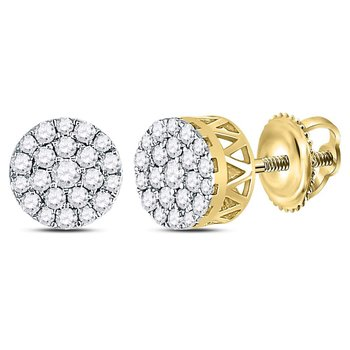 14kt Yellow Gold Womens Round Diamond Concentric Circle Cluster Earrings 1/2 Cttw