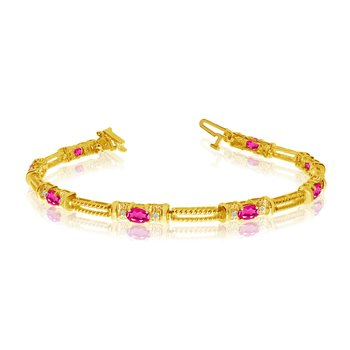 10k Yellow Gold Natural Pink-Topaz And Diamond Tennis Bracelet