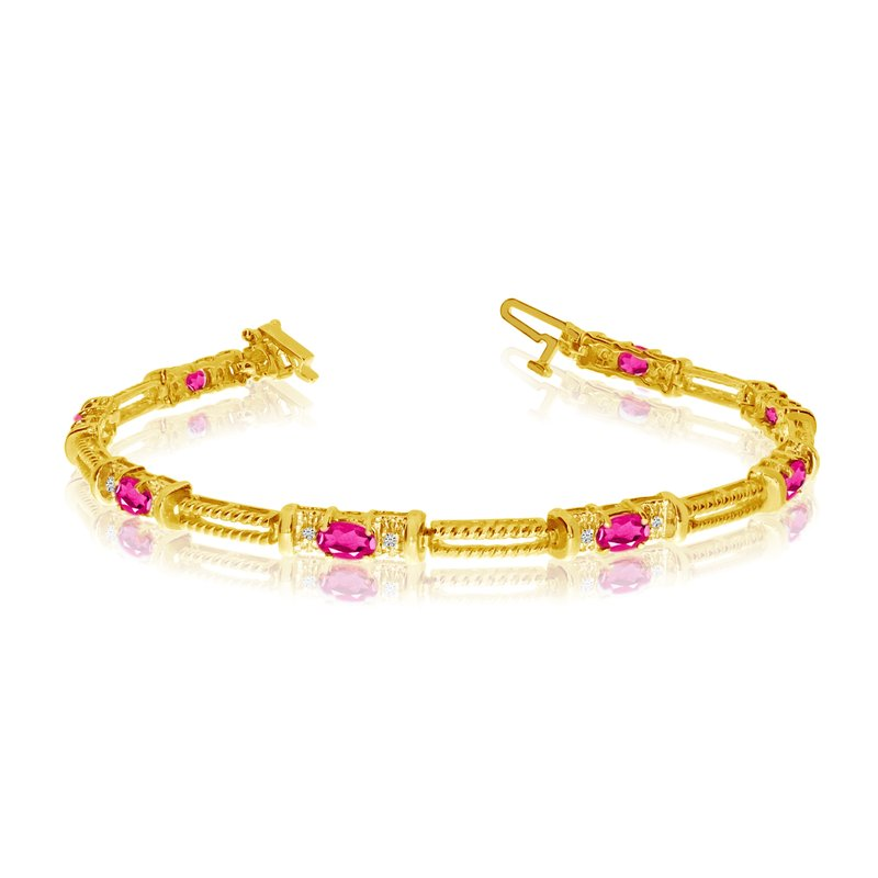 Color Merchants 10k Yellow Gold Natural Pink-Topaz And Diamond Tennis Bracelet