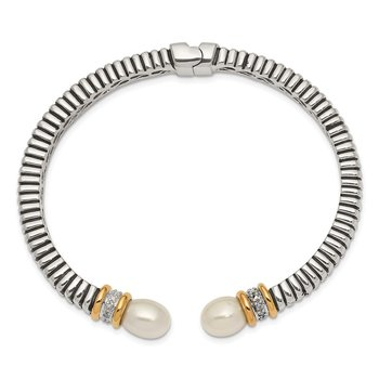 SS w/14k True Two-tone FW Cultured Pearl & Diamond Cuff Bracelet