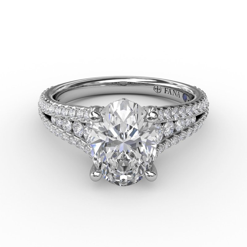Fana Oval Diamond Solitaire Engagement Ring With Triple-Row Tapered Diamond Band