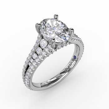 Oval Diamond Solitaire Engagement Ring With Triple-Row Tapered Diamond Band