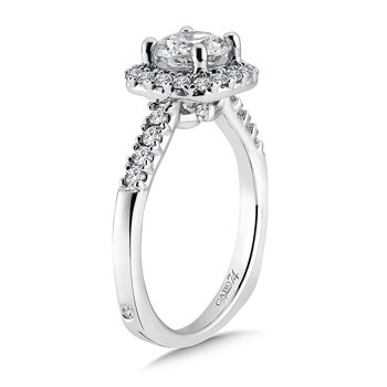 Elegance Collection Diamond Halo Engagement Ring in 14K White Gold with Platinum Head (1ct. tw.)