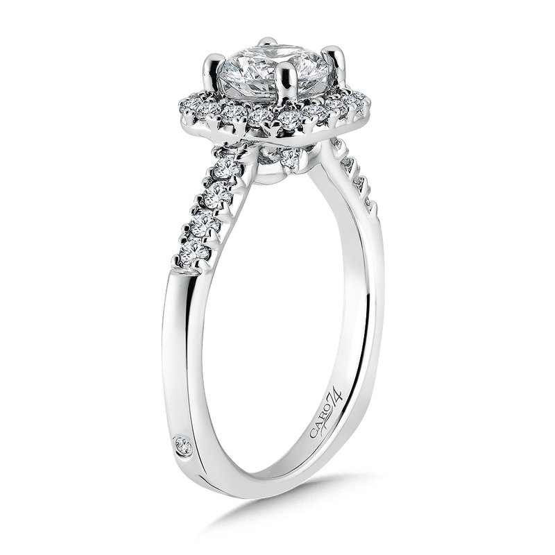Caro74 Elegance Collection Diamond Halo Engagement Ring in 14K White Gold with Platinum Head (1ct. tw.)