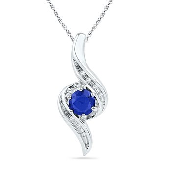 10kt White Gold Womens Round Lab-Created Blue Sapphire Solitaire Diamond Pendant 3/4 Cttw
