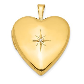 Gold Plated Sterling Silver & Diamond 20mm Heart Locket