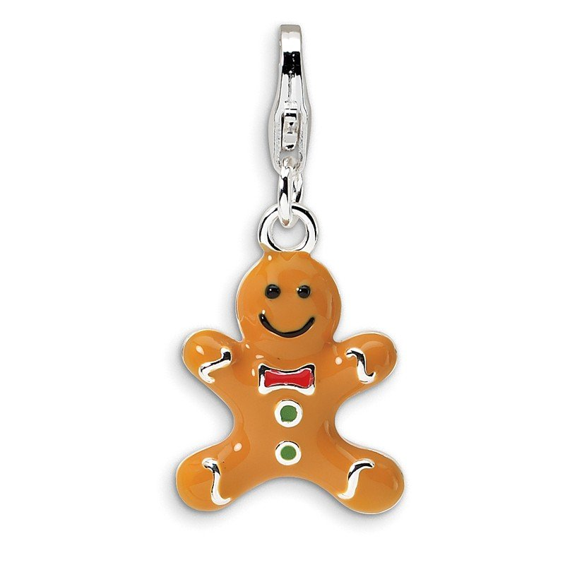 Quality Gold SS RH 3-D Enameled Gingerbread Cookie w/Lobster Clasp Charm