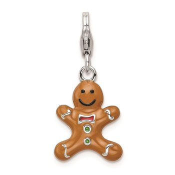 SS RH 3-D Enameled Gingerbread Cookie w/Lobster Clasp Charm