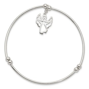 Sterling Silver Bead w/Angel Stretch Bangle Bracelet