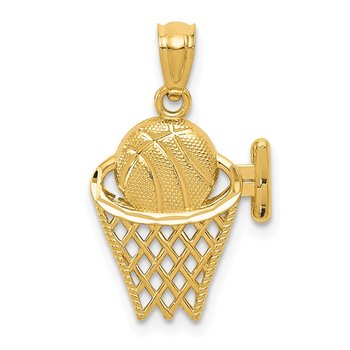 14k Basketball in the Net Pendant