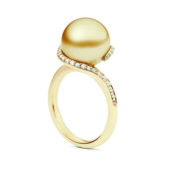 Twist Golden South Sea Cultured Pearl Ring