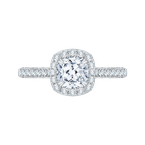 Carizza Cushion Cut Halo Diamond Engagement Ring In 14K White Gold (Semi-Mount)