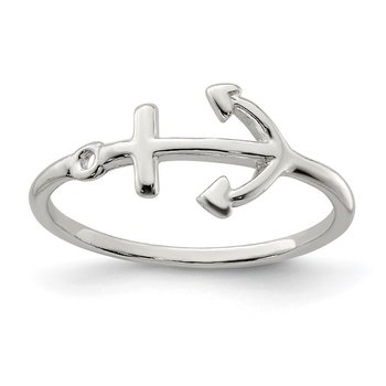Sterling Silver Polished Anchor Ring