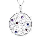 Essentials 10K White Gold 3/8 Ct Ruby + White & Blue Sapphire Circle Pendant with Chain