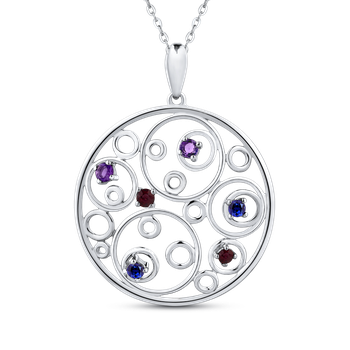 10K White Gold 3/8 Ct Ruby + White & Blue Sapphire Circle Pendant with Chain