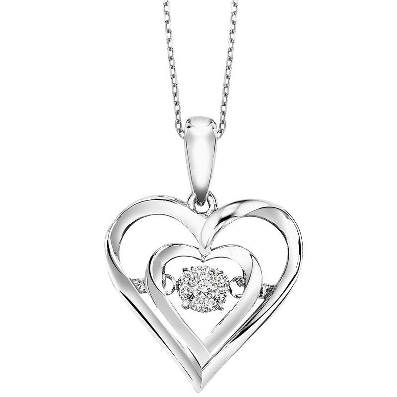 Gems One Diamond ROL Rhythm of Love Double Heart Pendant in Sterling Silver