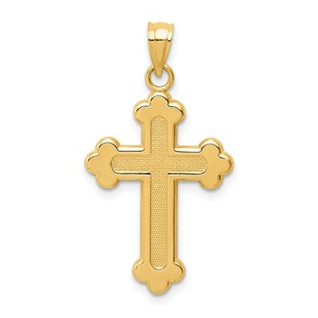 14K Satin and Polished Budded Cross Pendant