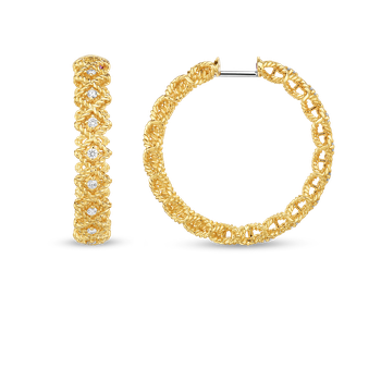 18KT GOLD LARGE ROUND DIAMOND HOOP EARRING