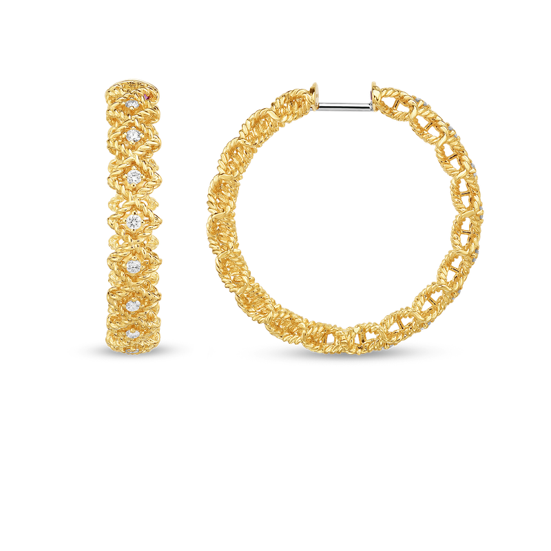 Roberto Coin 18KT GOLD LARGE ROUND DIAMOND HOOP EARRING