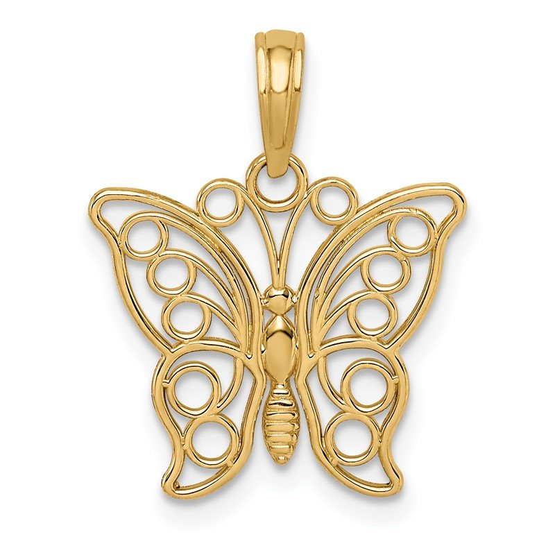 Quality Gold 14K Cut-out Butterfly Large Pendant