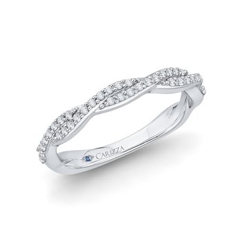 14K White Gold Round Diamond Criss-Cross Half-Eternity Wedding Band
