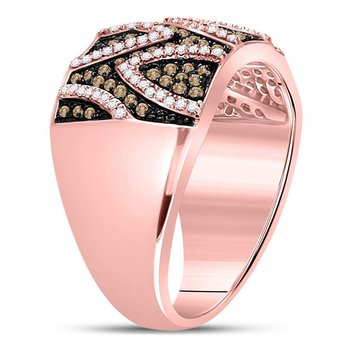 10kt Rose Gold Womens Round Red Color Enhanced Diamond Band Ring 5/8 Cttw