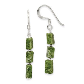 Sterling Silver Green Russian Serpentine Stone Earrings