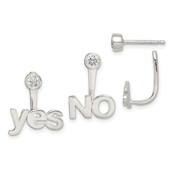 Sterling Silver Polished Yes & NO Front & Back CZ Post Earrings
