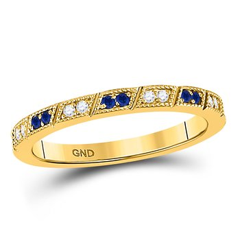 10kt Yellow Gold Womens Round Blue Sapphire Diamond Milgrain Stackable Band Ring 1/4 Cttw