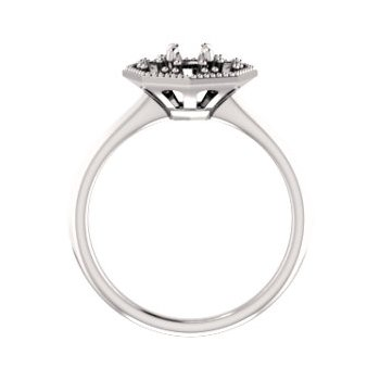 18K White 4.4 mm Round Halo-Style Engagement Ring Mounting