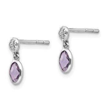 SS White Ice Amethyst and Diamond Post Earrings