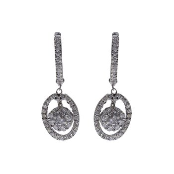 14k White Gold Oval Drop Diamond Earrings