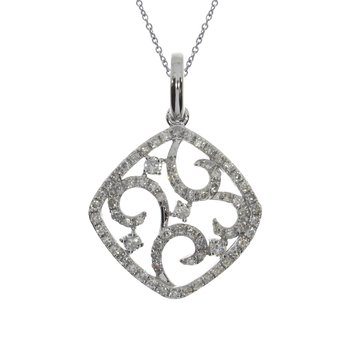 14K White Gold Cushion Shaped Diamond Fashion Pendant