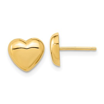14k Gold Polished Heart Post Earrings