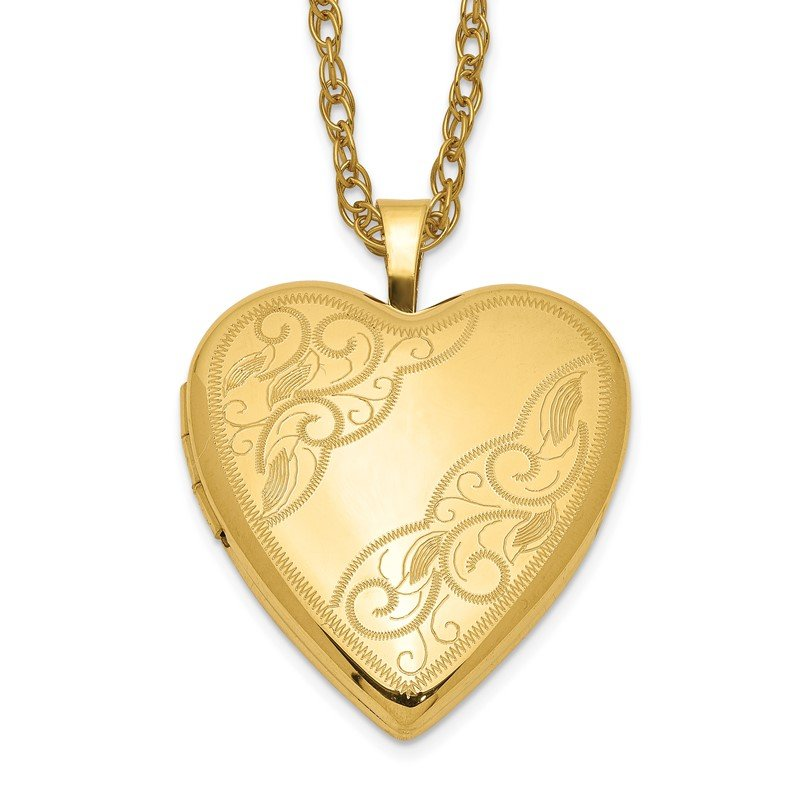 Quality Gold 1/20 Gold Filled 20mm Side Swirled Heart Locket Necklace