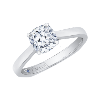 18K Two-Tone Gold Cushion Cut Diamond Solitaire Engagement Ring (Semi-Mount)