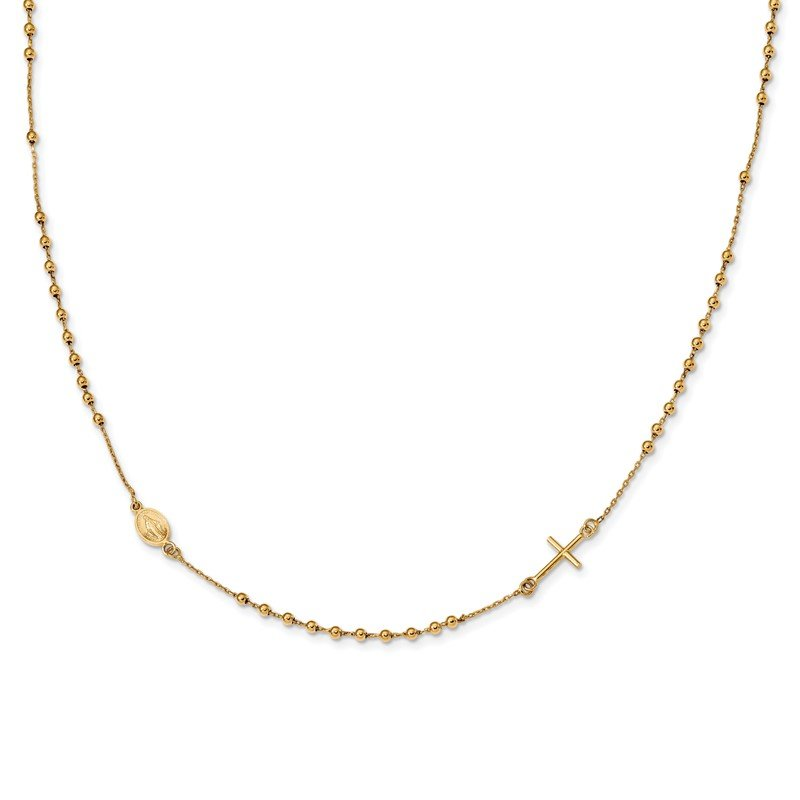 Quality Gold 14k Polished Cross Rosary 16 inch Necklace