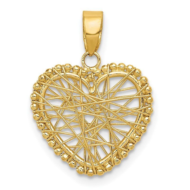 Quality Gold 14K Polished Wire Heart Pendant