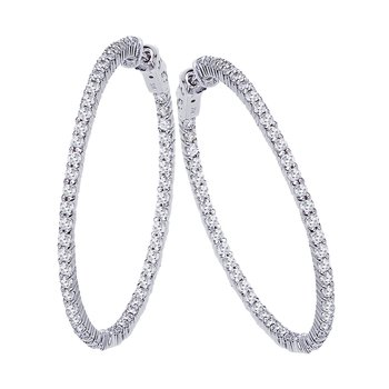 14K 3ct White Gold Diamond Secure Lock 35 mm Hoop Earrings