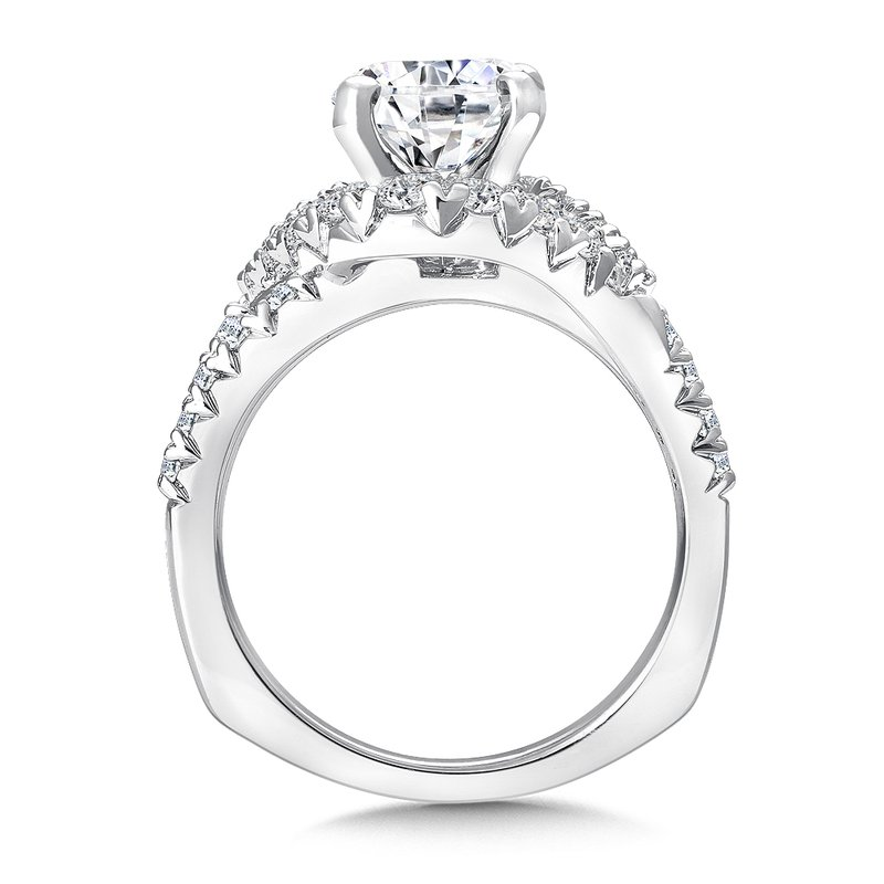 Valina Bridals Mounting with side stones .73 ct. tw., 2 ct. round center.