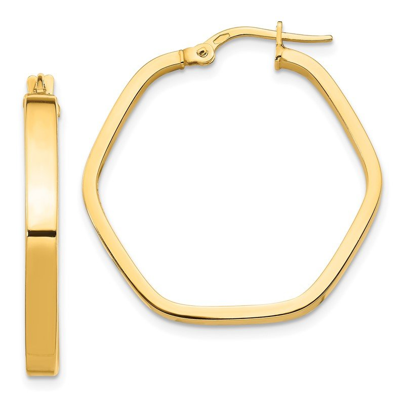 Quality Gold 14K 3x2mm Square Tube Hexagon Hoop Earrings