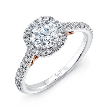 "Uneek ""Fiorire"" Round Diamond Engagement Ring with Cushion-Shaped Halo and Pave  Shank in 14K White Gold, and Under-the-Head Filigree in 14K Rose Gold"