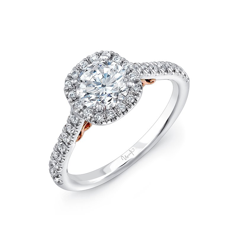"Uneek Fine Jewelry Uneek ""Fiorire"" Round Diamond Engagement Ring with Cushion-Shaped Halo and Pave  Shank in 14K White Gold, and Under-the-Head Filigree in 14K Rose Gold"