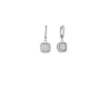 18KT NEW BAROCCO SQUARE DIAMOND DROP EARRING