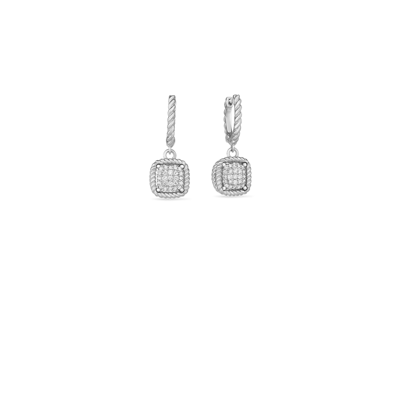 Roberto Coin  #26772 Of 18Kt New Barocco Square Diamond Drop Earring