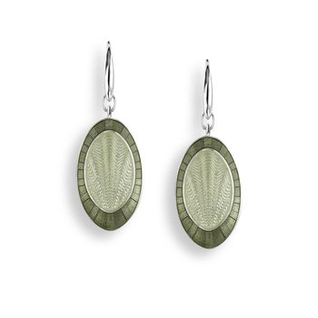 Green Oval Wire Earrings.Sterling Silver